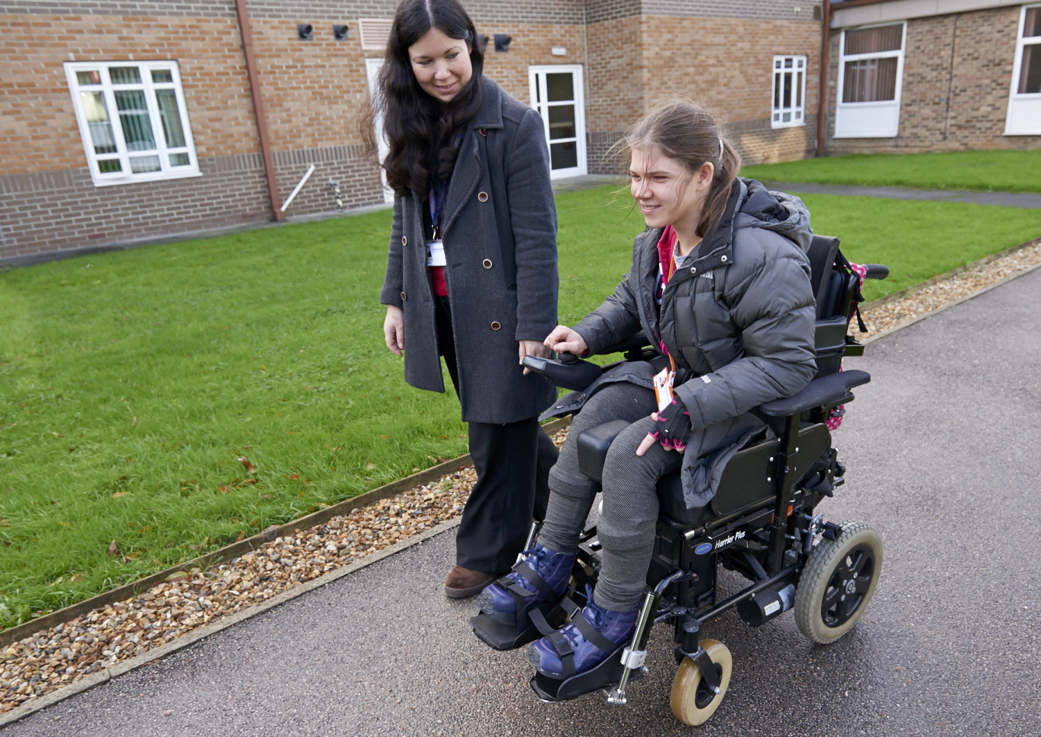Student and staff member exploring the college campus on a specialist college open day