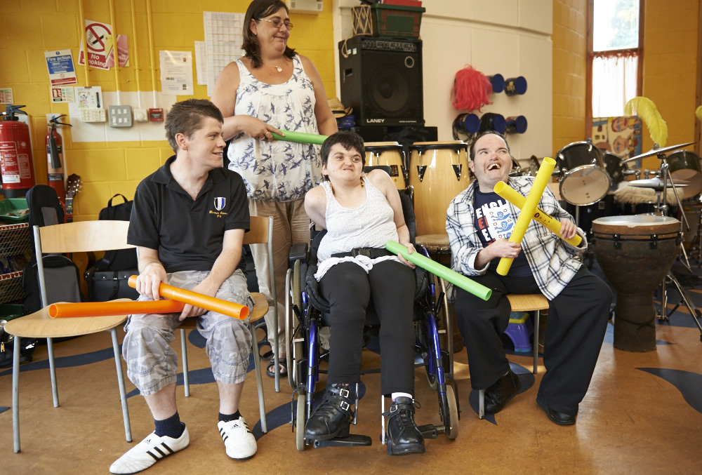 A group of art makers enjoying a session with the boomwhackers in our music workshop. Please fill in our arts & crafts enquiry form to find out how we support people with disabilities to go beyond expectations