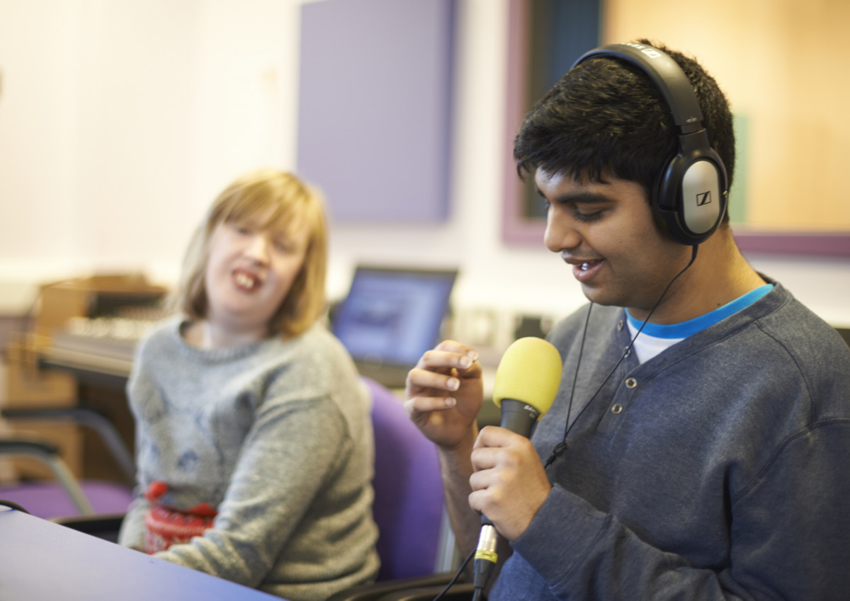 Recording a podcast in the recording studios, one of our many specialist facilities you can explore when you book a College visit