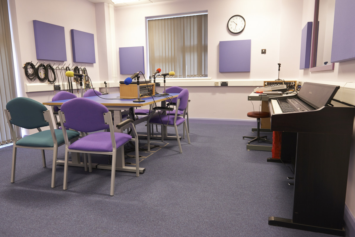 Inside Henshaws Media and IT Centre recording studios