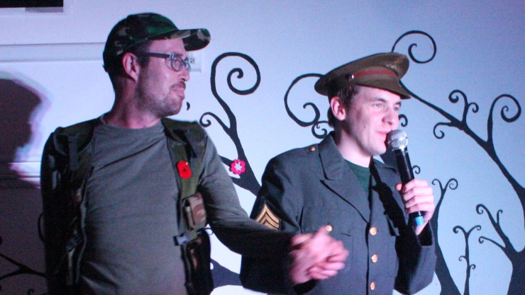 Art Maker James on stage singing Dad'd Army songs for our Henshaws Got Talent competition