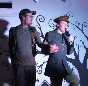 Art Maker James singing Dad's Army tunes on stage as part of our Henshaws Got Talent competition