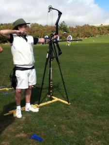 David practising archery