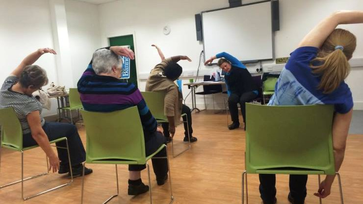 Over 50's exercise classes in action