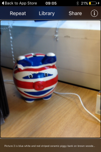 Image is of Tap Tap See in use on an iPhone: the camera is pointing at a piggy bank with a Union Jack design, and the captain beneath it recognises what the camera is pointing at.