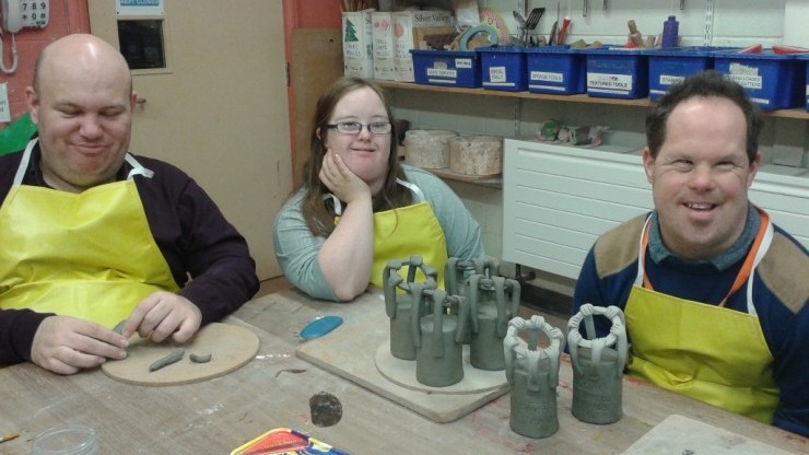 Art Makers in our pottery workshops making the trophies as part of our commission for the Social Enterprise UK awards