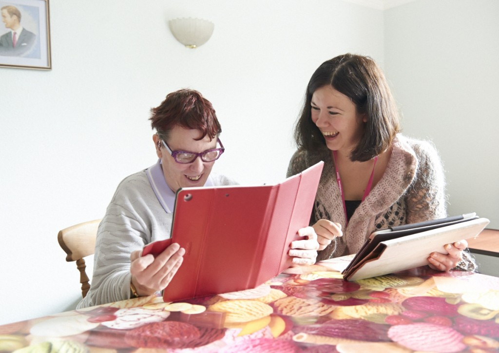 Anita using her iPad