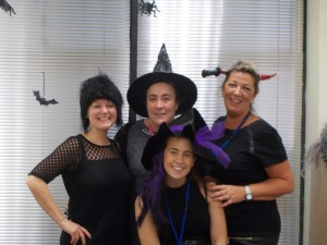 Kelly and the Liverpool staff dressed up for office Halloween