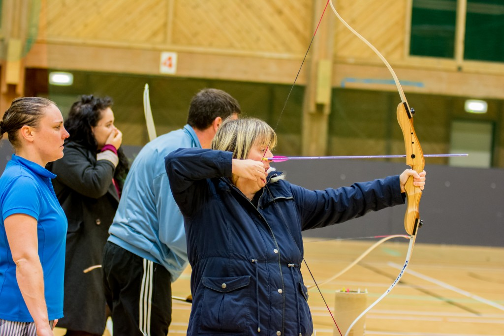 Image of service user learning archery