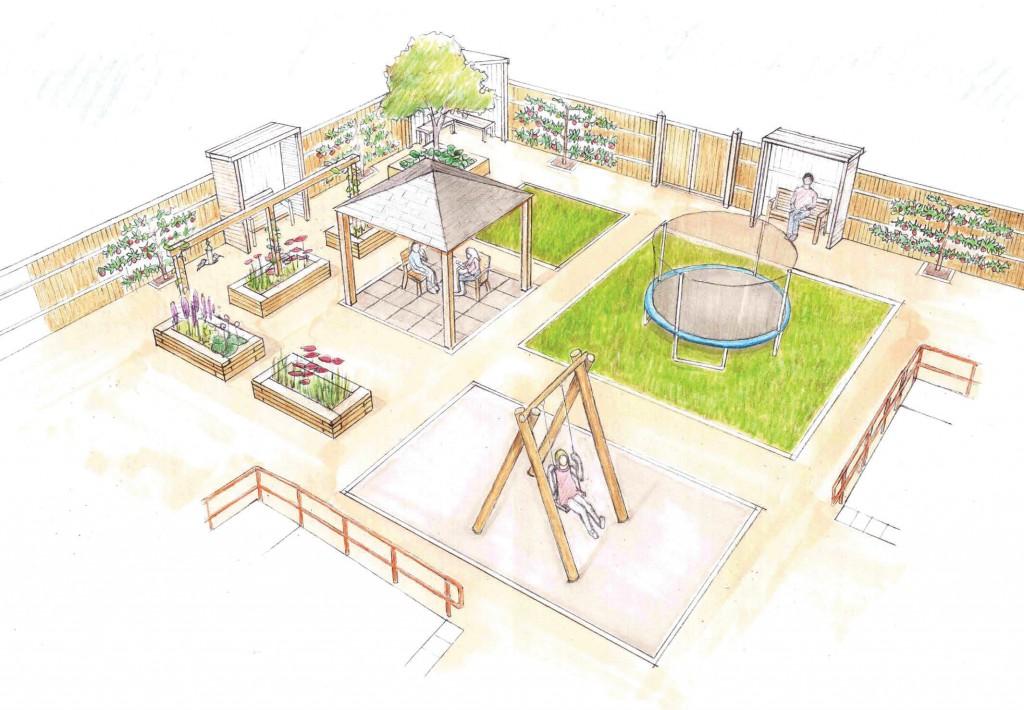 Artists illustration of The Starting Point sensory garden