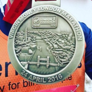 Runner Tom Shaw's medal after completing the marathon