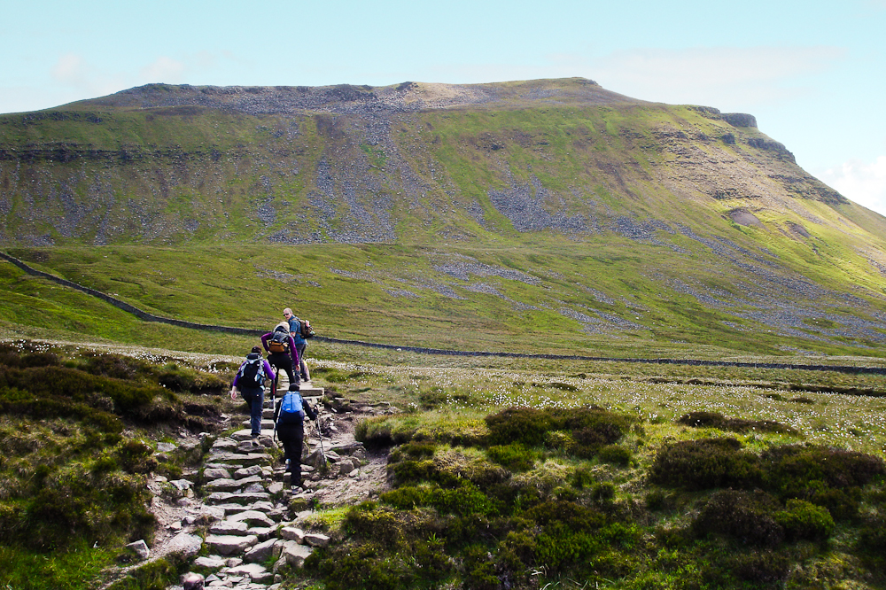 Walkers climbing up the Three Peaks in Yorkshire