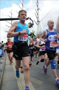Photo of Rob running the London Marathon 2016.