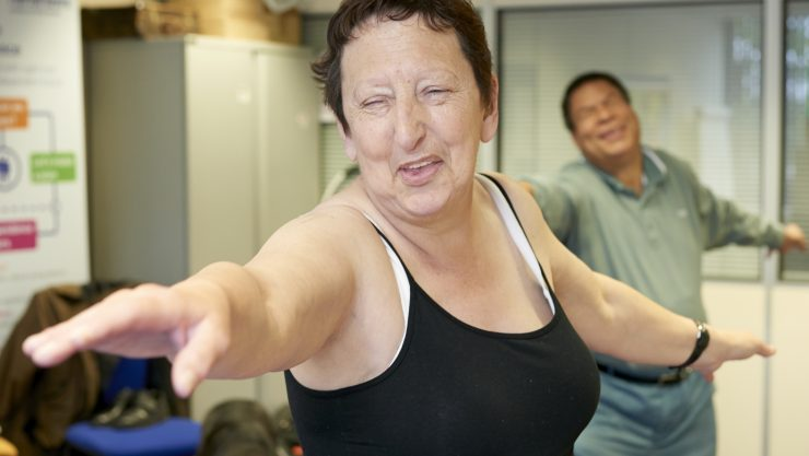 Service user at exercise class