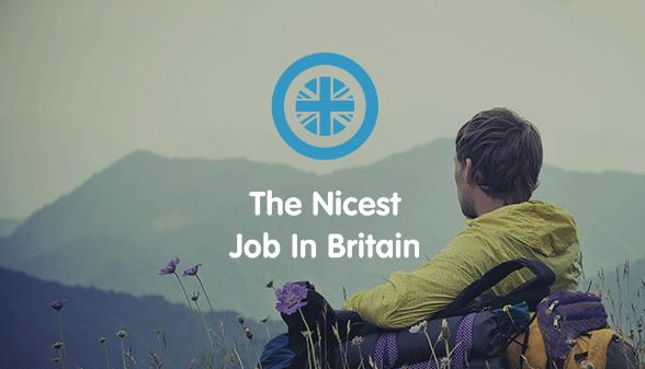 Title image with 'Nicest Job in Britain' and man looking over mountains in the background.