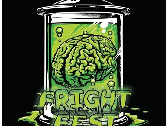 Fright Fest music festival logo featuring an illustration of a green brain in a jar