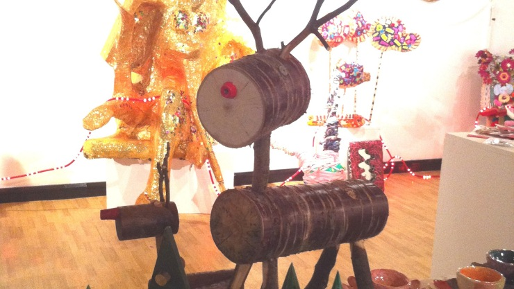 Reindeer made of log and twigs