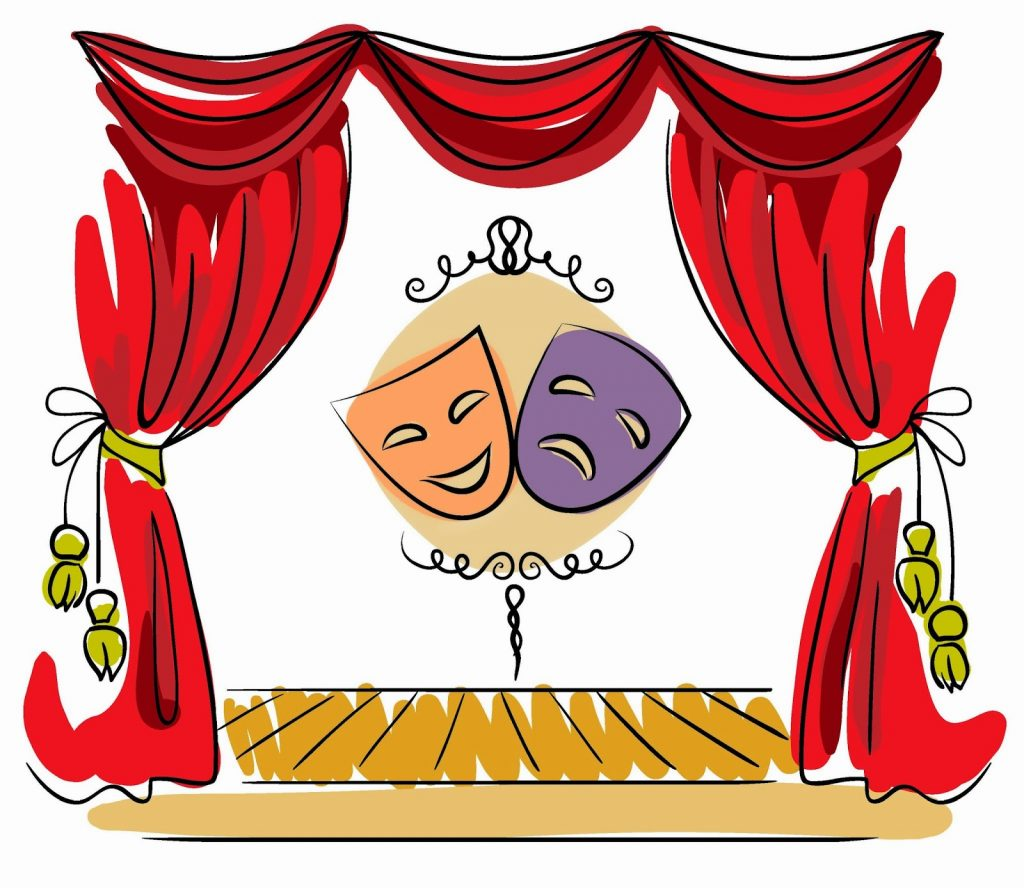 Illustration of a theatre with a happy and sad mask on centre stage