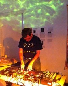 Photo of Lee DJing at the Arts and Crafts centre