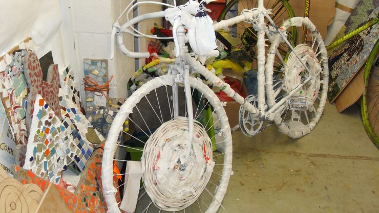 Image of a paper mache bicyle, made by Art Maker Jon.