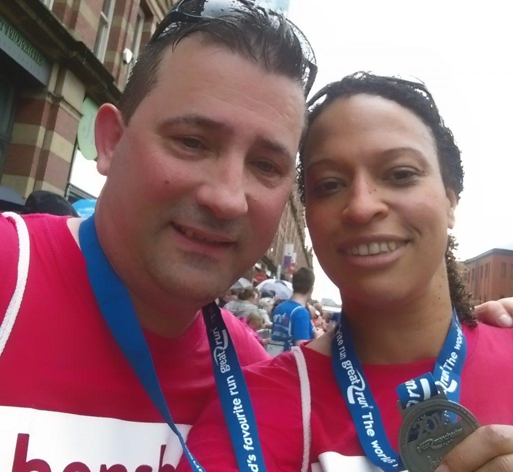 Great Manchester Run participants running for Henshaws