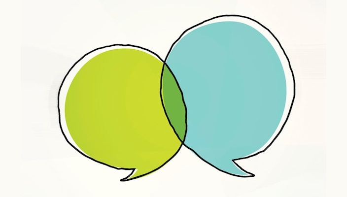 Two hand-drawn speech bubbles overlapping, suggesting two people in conversation.