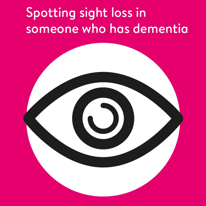 A magenta square with a black and white icon of an eye in the centre, and above it says 'Spotting sight loss in someone who has dementia'