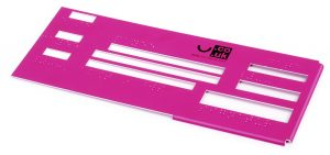 Bright pink plastic cheque template with slots to guide pen.