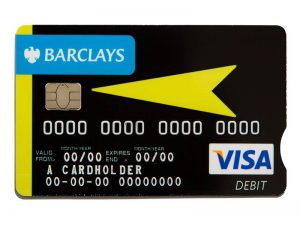 High vis Barclays credit card example, which is black with yellow highlights.