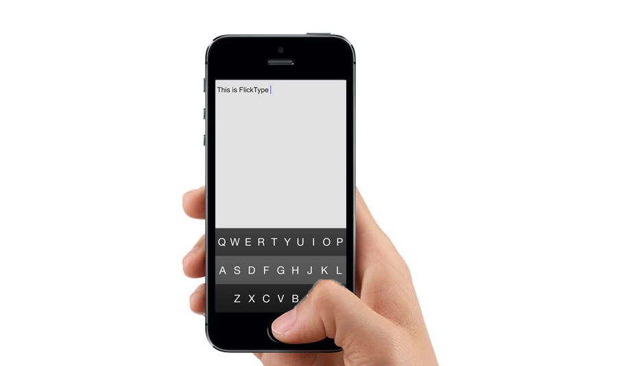 An iPhone with the Flicktype screen displayed. It has typed out on the screen 'this is Flick type'.