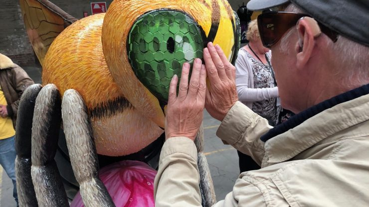 An elderly gentleman reaches out to feel the honeycomb eye texture of the sculpture.