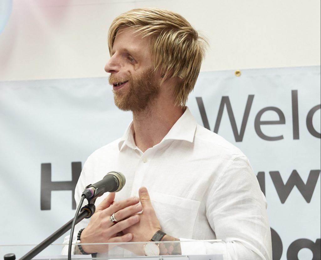 Jono Lancaster delivers an inspirational speech at Henshaws Specialist College Graduation ceremony