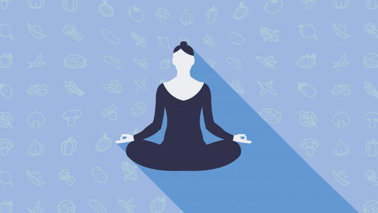 Illustration of a woman meditating cross-legged.