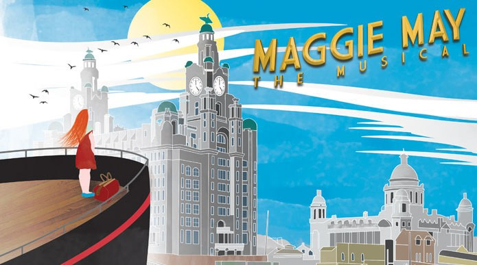Promotional illustration for Maggie May which sees a girl with red hair standing on a ship, looking wistfully at the outline of Liverpool.