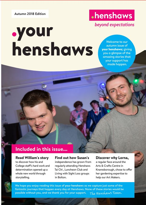 Your Henshaws Autumn 2018 front cover