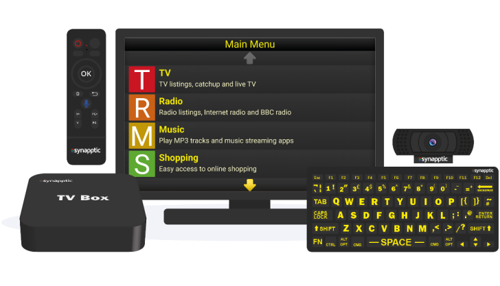 synaptic TV - monitor, keyboard and remote control