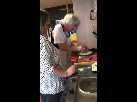 Two women enjoying a cooking class