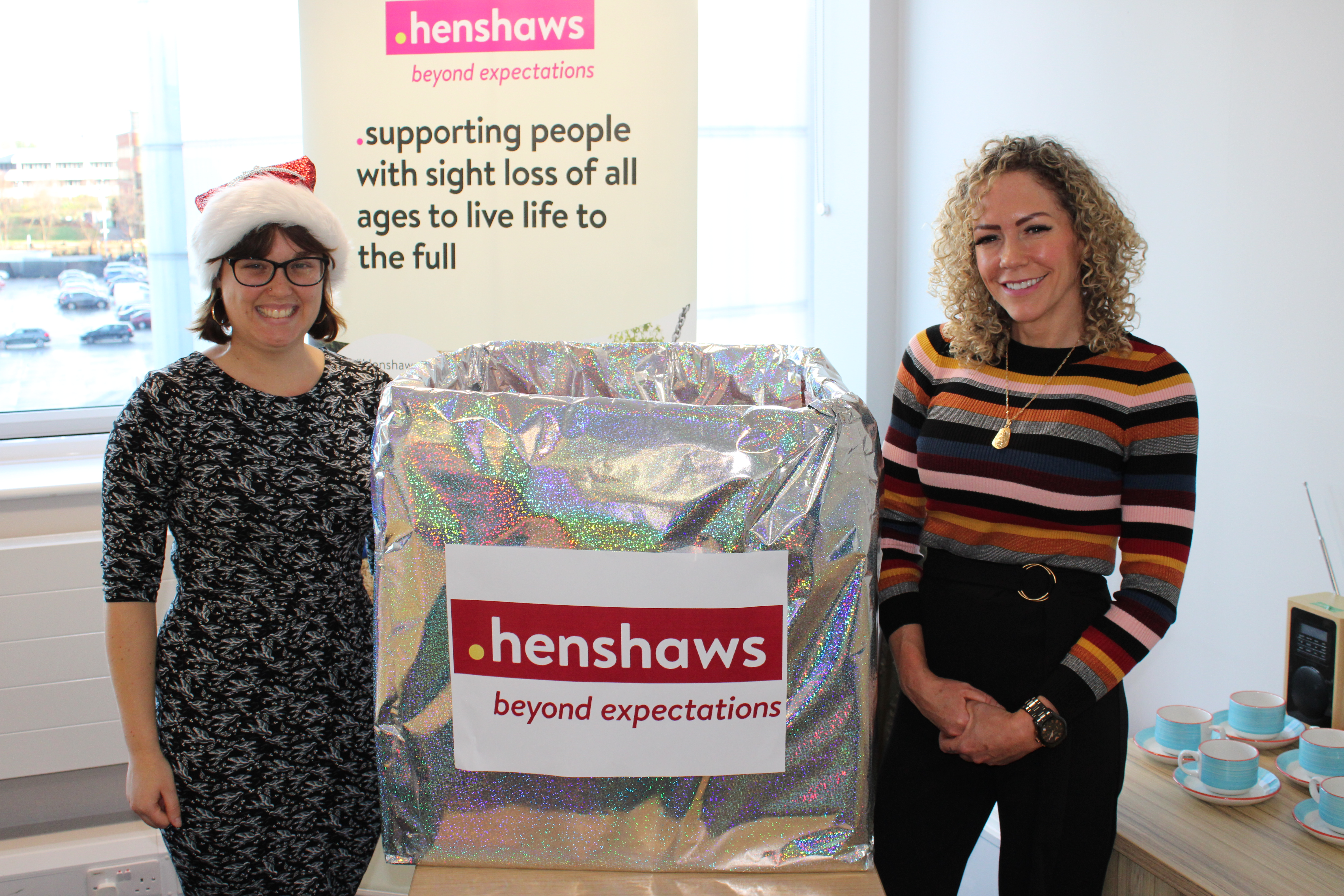 Individual fundraiser Holly and Bruntwood receptionist Adele who conducted the draw