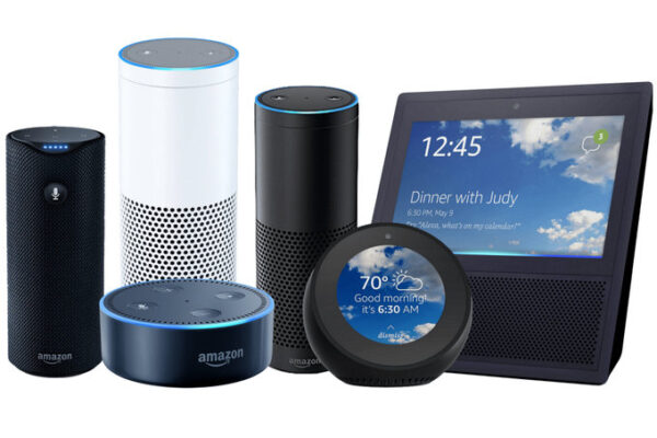 An assortment of six different Amazon Echo products, all differing in shapes and sizes.