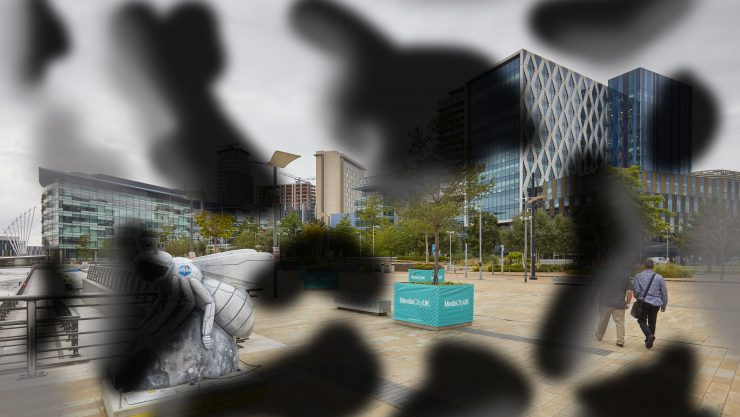 Media City as seen by someone with diabetic retinopathy