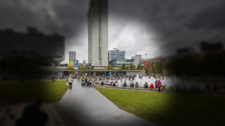 Piccadilly Gardens as seen by somebody with Glaucoma