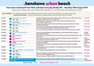 Timetable of Henshaws Urban Beach events