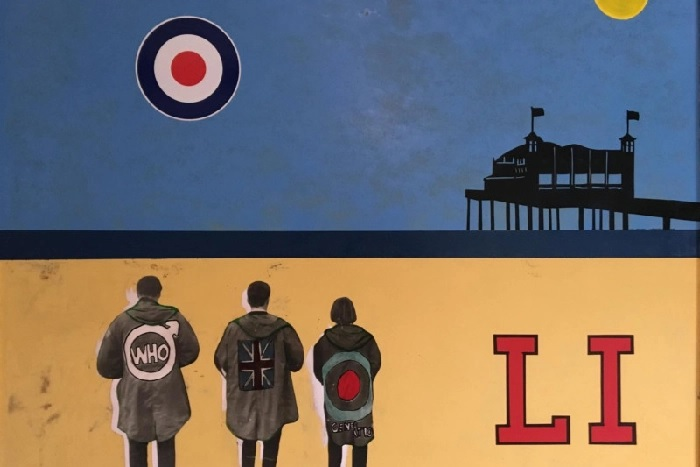 Part of the mods on the beach collage at Henshaws Arts & Crafts Centre by Harrogate artist Thomas James Butler