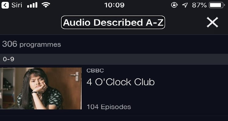 Screenshot of BBC iPlayer app showing Audio Described category