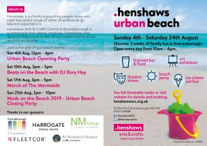 Cover of Henshaws Urban Beach leaflet with details of events and opening times