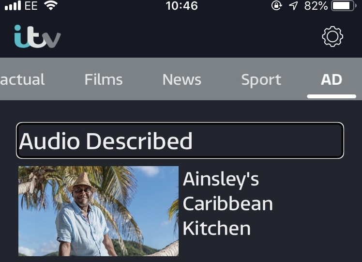 Screenshot of the ITV Hub app showing Audio Described category