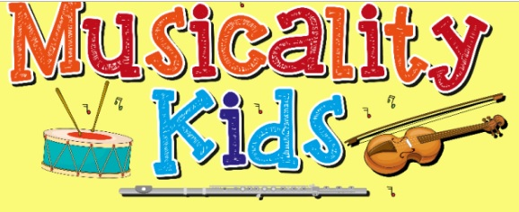 Logo for musicality kids classes including a drum, flute, violin and musical notes.