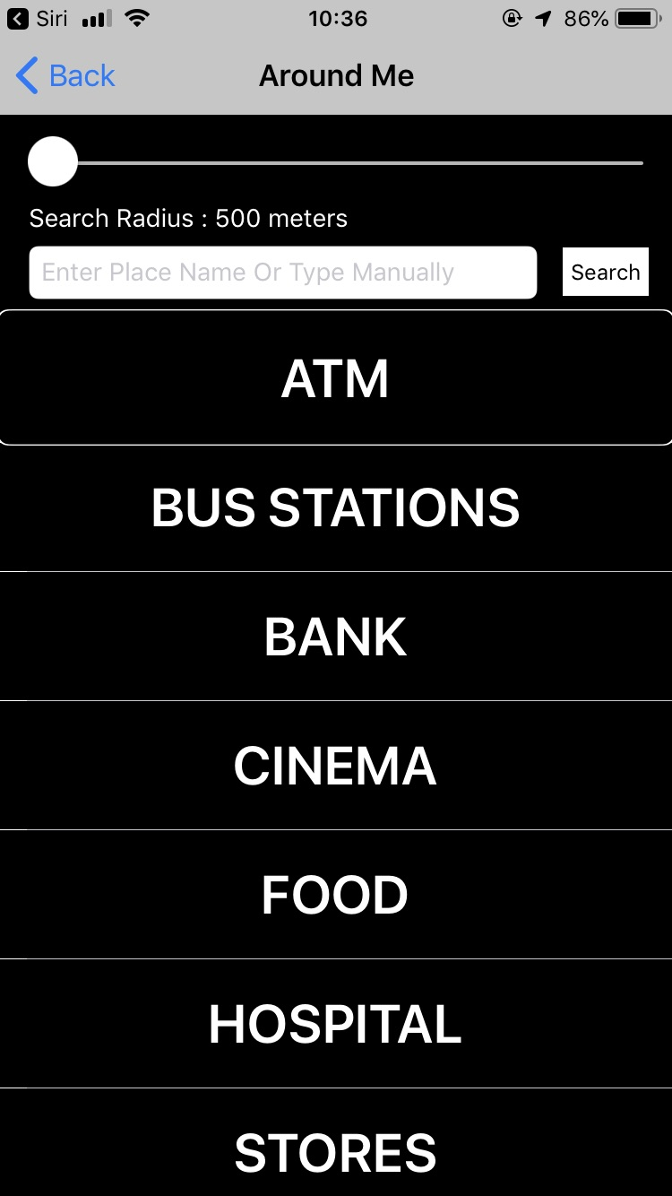 Screenshot of the Around Me screen, featuring categories including ATM, Bus Stations and Stores, as well as the radius selector and search function