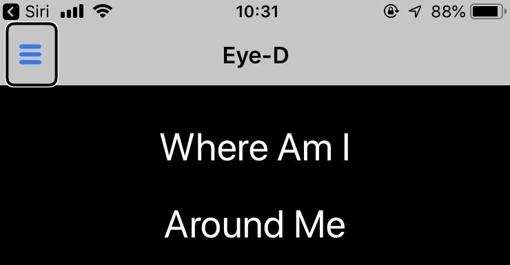 Screenshot of iPhone screen showing Eye-D and the features Where Am I? and Around Me