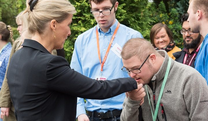 The Countess of Wessex is greeted by students at Henshaws Specialist College